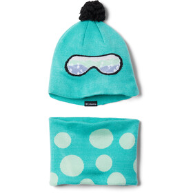 Columbia Snow More Ensemble Bonnet & Guêtres Adolescents, dolphin dots print